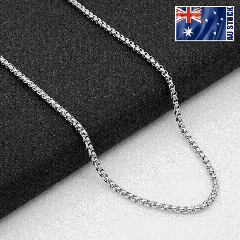 Jewellery - Wholesale Stainless Steel Square Rolo Box Cylinder Chain Necklace Mens & Womens