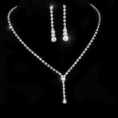 Bridal Set Rhinestone Earrings - Silver Rhinestone Crystal Drop Necklace Earrings Wedding Bridal Jewelry set Gift