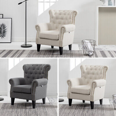 Upholstered Winged Armchair High Back Chair Sherlock Sofa Fabric Fireside Rivet