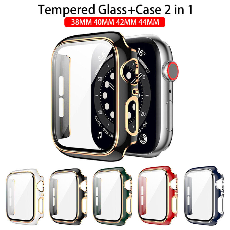 Glass Protective Case For Apple Watch iWatch Series SE 6 5 4 3 2 1 38/40/42/44mm