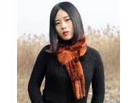 DAYMISFURRY--Ombre Knit Rex Rabbit Fur Scarf