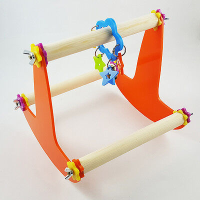 Wooden PLAY STAND Perch Gym Parrot Bird Cages Toy Cockatiels Parakeet See Nice