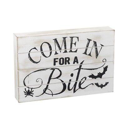 Kommen in für ein biss Weiß Halloween Schild- Holz Party Dekoration Ornament
