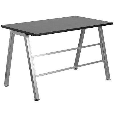 High Profile Desk Writing Desk Spacious Black Laminate Rectangular Desk Top
