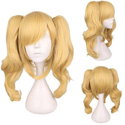 Harley Quinn Blonde Hair (Batman Harley Quinn 2 Ponytail Golden Blonde Curly Hair Wig Cosplay Party)