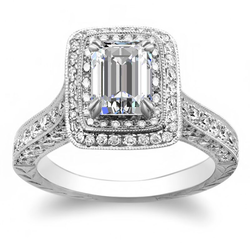 3.10ctw Natural Emerald Halo Art Deco Diamond Engagement Ring - GIA Certified 1