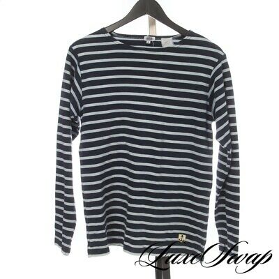 Armor Lux Made in France Navy Double Blue Breton Stripe Boatneck Tee Shirt XS NR
