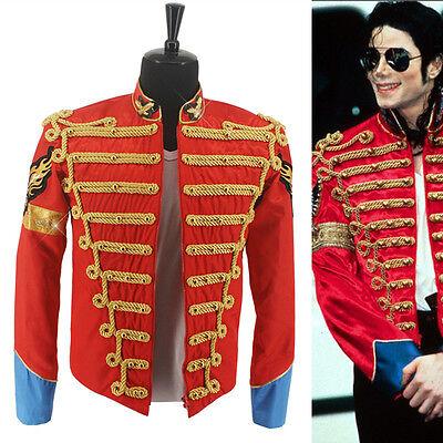 Rare MJ Michael Jackson Red Retro England Military Costume Jacket Punk Show