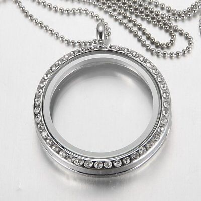 30MM Crystal Floating Charms Living Memory Glass Locket Pendant Necklace Chain](Floating Charm Locket Necklace)