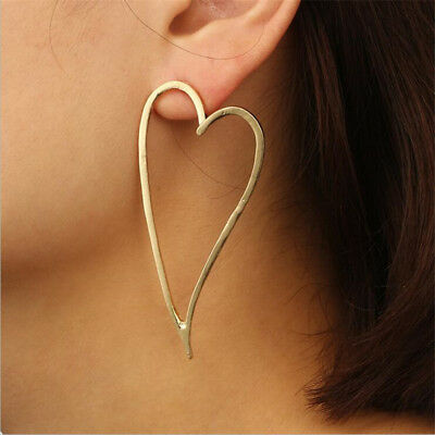 Women Lady Hollow Large Heart Shaped Hoop Ear Stud Gold Individuality Earrings ()