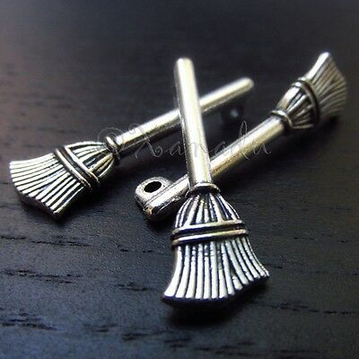 Broom Halloween Wholesale Silver Plated Charm Pendants C3146 - 10, 20 Or 50PCs - Halloween Charms Wholesale
