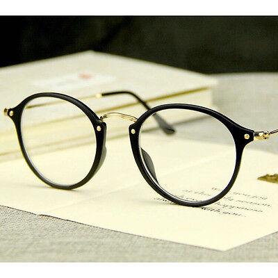 Unisex Klassische Nerd Runden Brille Klarglas Linse Damen und Herren Zubehör
