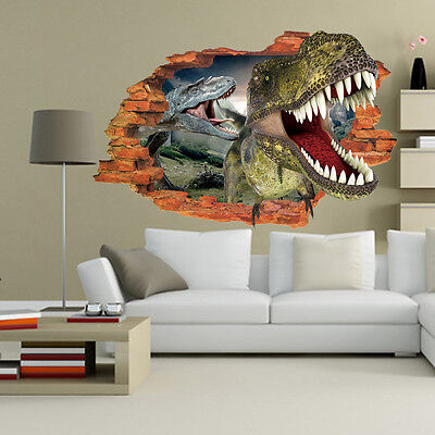 Two Murals (3D Two Dinosaurs Wall Sticker Decal Art Decor Vinyl Home Room Window Door)