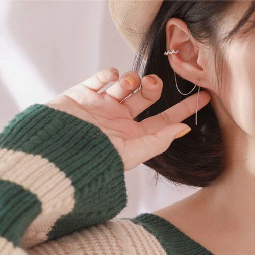 925 Silver Zircon Ear Clip Long Tassel Stud Earrings Line Cu