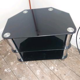Black and chrome glass tv unit