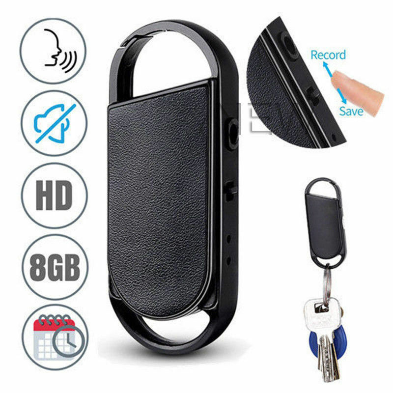 Pro 8GB Voice Recorders Mini Spy Sound Audio Recorder Keycha