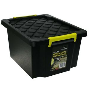 5 x 25L Black Heavy Duty Small Medium Plastic Storage Tubs Crate Containers Tub