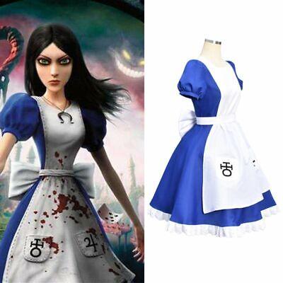 Alice Madness Returns Princess Gothic Maid Fancy Dress Cosplay Costume Halloween