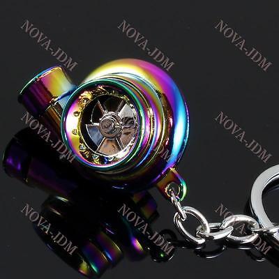 Electronic Turbo Turbine Key Chain Keychain Key Ring w/ Sound & LED - Neo Chrome