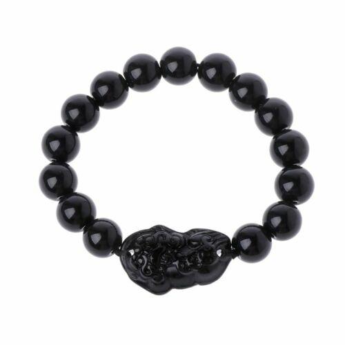 14mm Feng Shui Black Obsidian Alloy Wealth Bracelet Quality Original Unisex UN