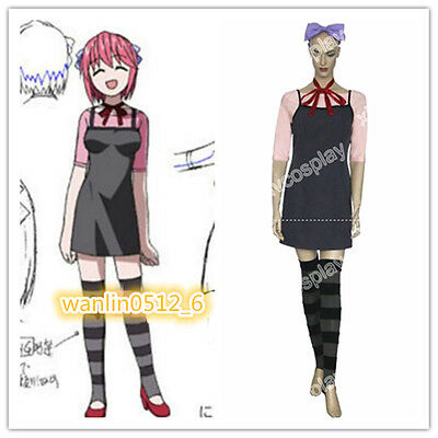 Hot! Elfen Lied Lucy Dress Full Set Cosplay Costume Halloween Free Shipping
