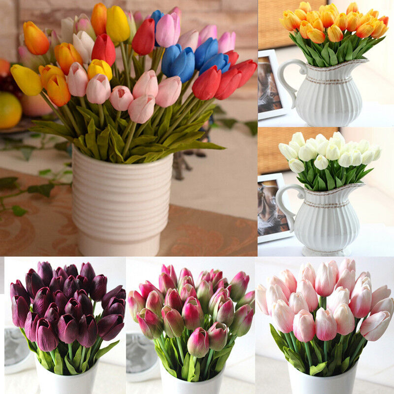 1 6 12 tulip artificial flower latex real touch wedding party bouquet home decor - Flowers For Home Decor