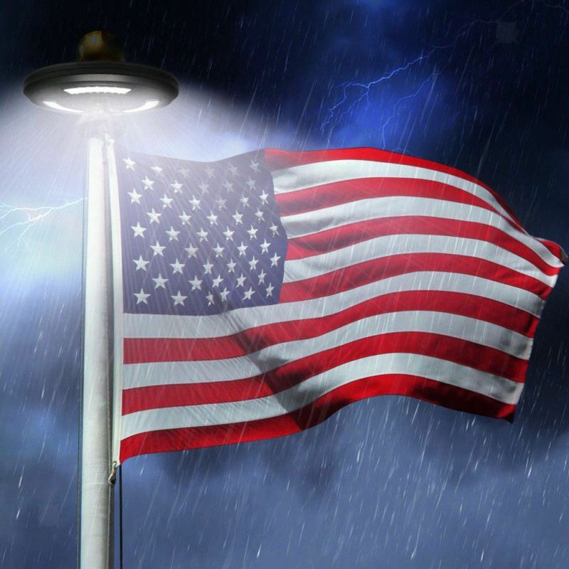 USA Flag Pole 42LED Solar Powered Automatic Light Night Supe