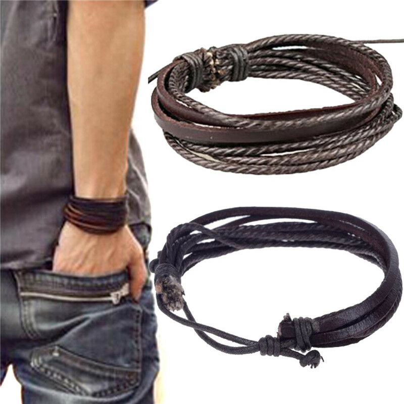 Mens Boys Handmade Leather Braided Surfer Wristband Bracelet Bangle Wrap Bracelets