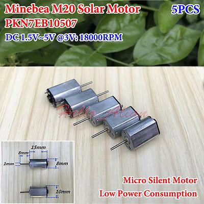 5pcs Minebea M20 Motor Dc 1.5v5v 18000rpm High Speed Silent Solar Power Motor