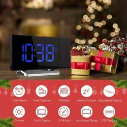 Mpow LED Projection Clock FM Radio Alarm Clock Dual Alarm with USB Charging Port