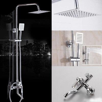 """8"""" Wall Mount Chrome Shower Faucet Set Rainfall Hand Shower Tub Filler Mixer Tap"""