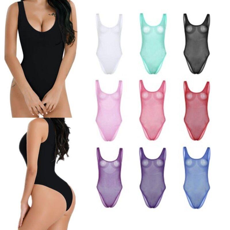 Womens Fishnet Mesh See Through Bodysuit Leotard Babydoll Bodystocking Nightwear