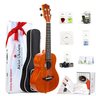 AKLOT Ukulele Solid Mahogany Acoustic Or Electric Soprano Concert Tenor Uke Kit