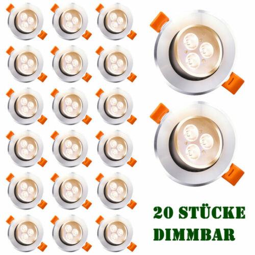 20x 3W LED Spot Einbauleuchte Einbau Strahler Deckenlampe Dimmbar Warmweiß IP44