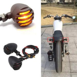 Black Universal Cafe Racer Bobber Motorcycle Turn Signals Indicator Lights Amber