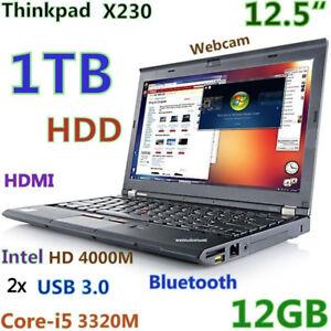 """Small Thinkpad X230 12.5"""" i5-2.6GHz 1TB 12GB Bluetooth CAM"""
