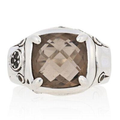 John Hardy Smoky Quartz Batu Bamboo Ring - Sterling Silver Designer Size 6 1/2