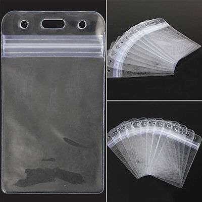 10pcs Id Card Vertical Badge Holder Case Vinyl Transparent Clear With Zipper