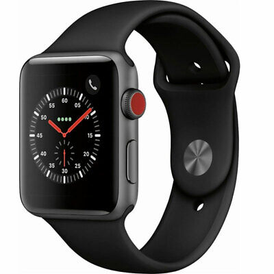 Apple Watch Series 3 42MM Space Gray Black Sport Band MQK22LL/A 4G LTE Cell