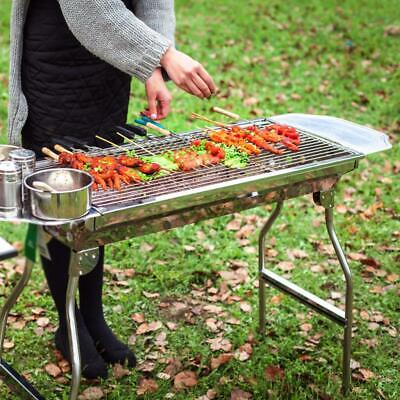 Family Size Stainless Steel Foldable BBQ Grill 73Cm With Side Tables