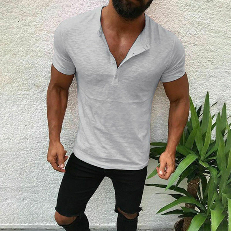 Men Slim Fit V Neck Short Sleeve Muscle Tee T-shirt Tops Summer Casual Shirt Tee Clothing, Shoes & Accessories