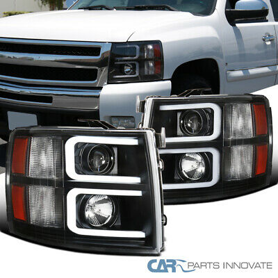 For Chevy 07-14 Silverado Pickup Black LED DRL Projector Headlights Head Lamps