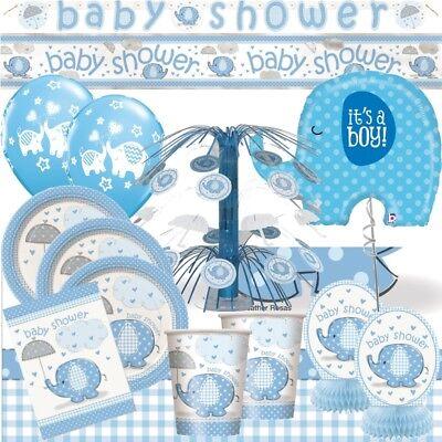 Blauer Elefant Baby Dusche Party Geschirr,Dekorationen,Einladungen,Ballons