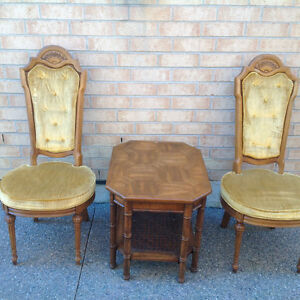 Decorative Seating Area - Two Solid Wood Chairs and Table