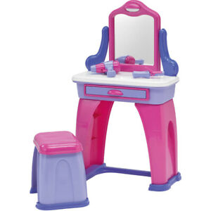 Slightly Used Nice Toy Girl Vanity Table with Mirror and Chair