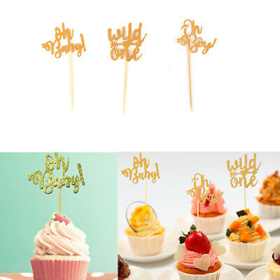 1/10Pcs Oh Baby Wooden Cake Topper Baby Shower Party Cupcake Decorating - Baby Shower Cake Decorating Supplies