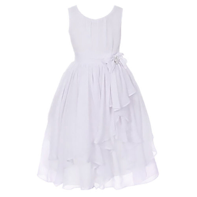Girls Bridesmaid Skater Casual Dresses Kid Summer Party Belle Age 2-12 Years