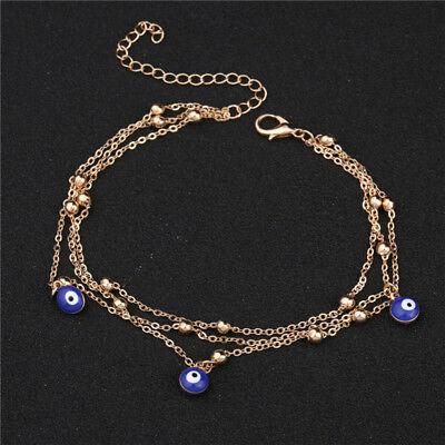 - Women Chain Anklet Ankle Bracelet Barefoot Sandal Beach Blue Eye Foot Jewelry