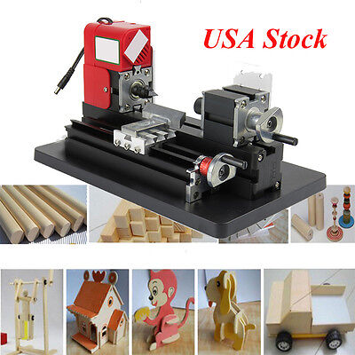 Mini Metal Motorized Lathe Machine Woodworking Power Model Making Safety Diy Use