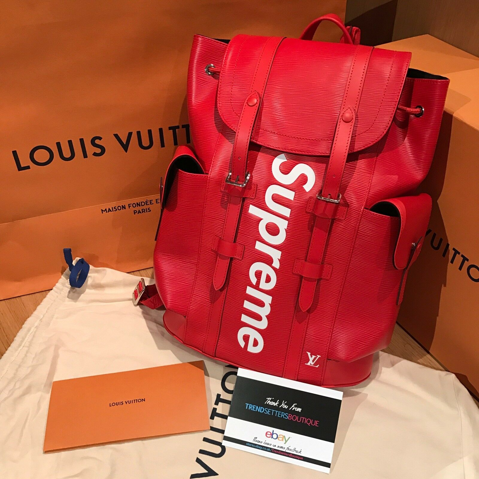 c1b6e062fb50 LOUIS VUITTON x SUPREME 100% AUTHENTIC LV BACKPACK CHRISTOPHER PM BAG EPI  RED фото